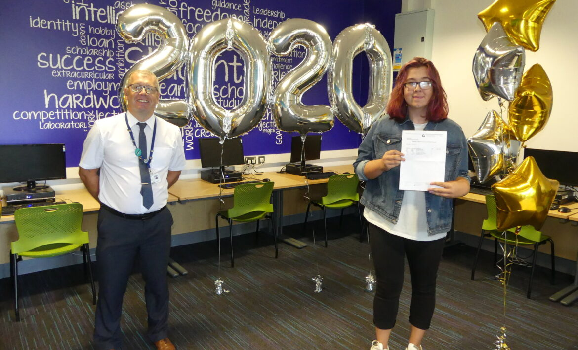 amelia top of the class receiving her gcse results at the academy grimsby