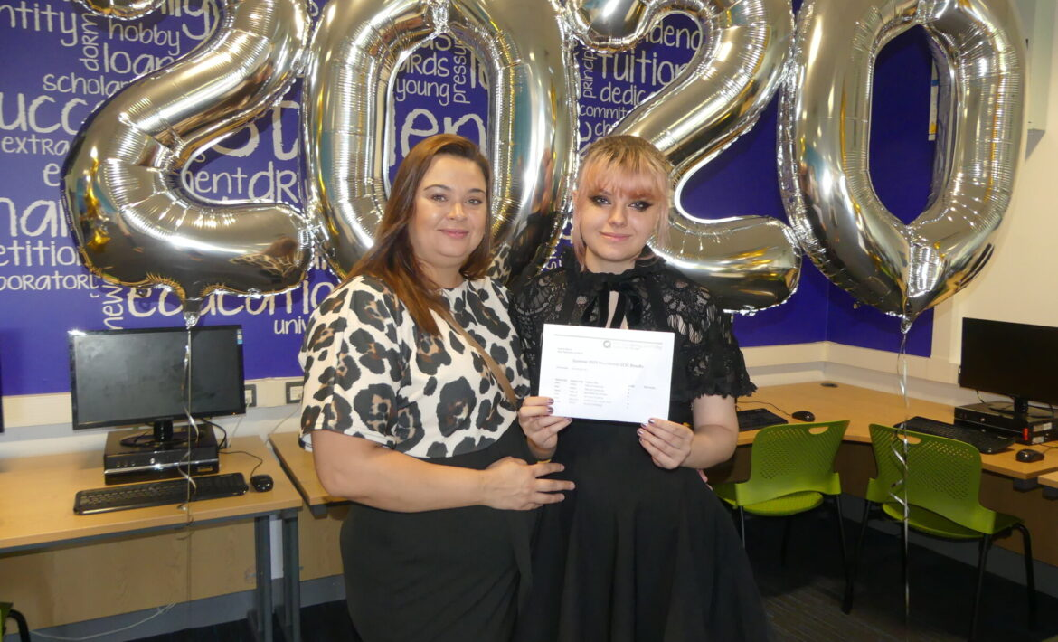 samantha receiving her best gcse results at the academy grimsby