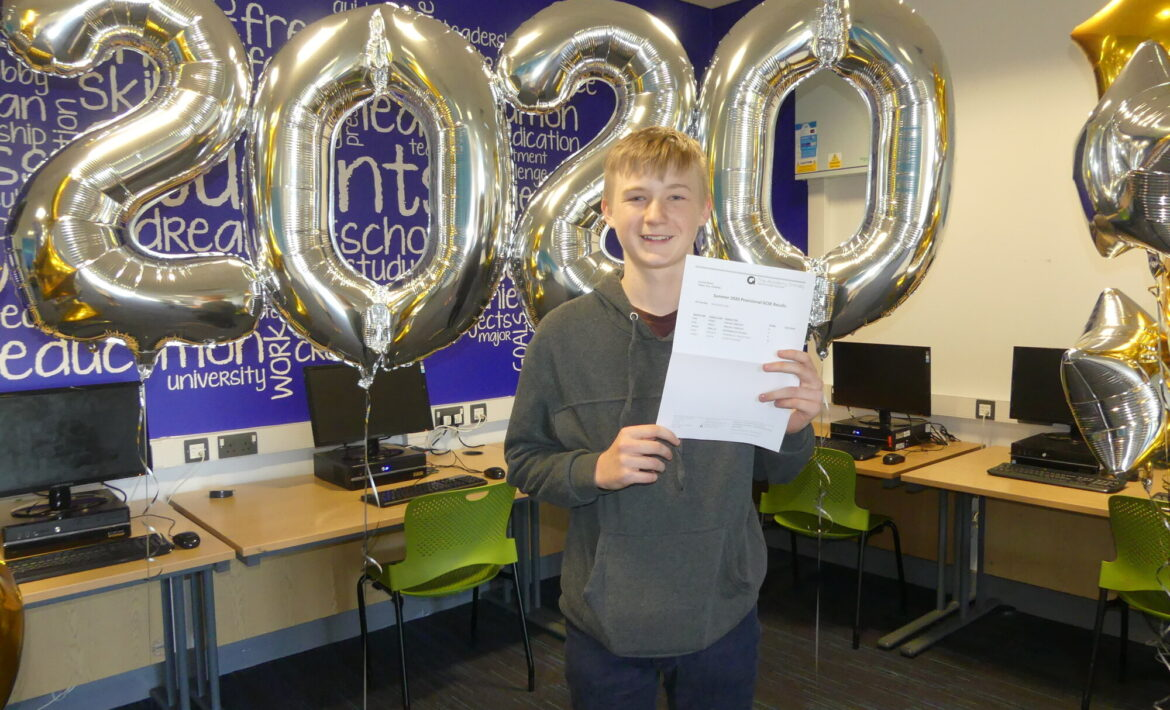troy centre stage receiving his gcse results at the academy grimsby